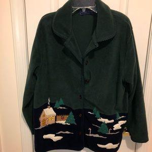 Karen Scott fleece Christmas cardigan jacket